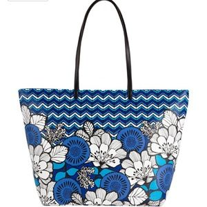 Vera Bradley faux leather play tote in blue bayou